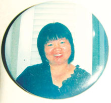 Self-made badge by Chiew, now a souvenir for her family