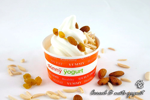 Cereal and nuts yogurt