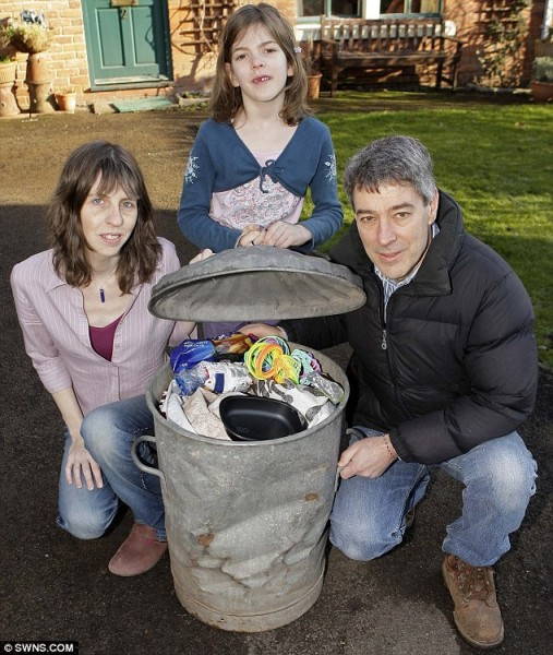 Green team: Richard, Rachelle and Verona Strauss at their home in Langhope, Gloucestershire, with the only bin they have filled in 2009. They make use of all their leftovers so crisp bags and cellophane wrappers ar about the only things that they throw away