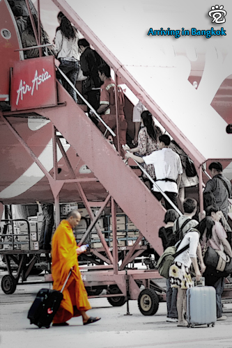 The monk was departing to Bangkok with AirAsia