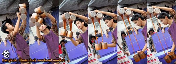 "Chatuchak weekend market - a boy was doing double ""teh tarik"""