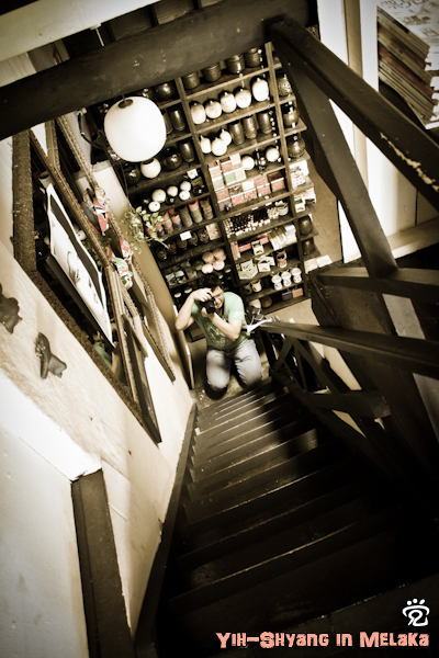Yih-Shyang was getting an angle of a stair in Limau-limau Cafe