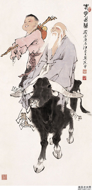 Lao Tzu (right) - by Fan-Zeng / 老子出关 - 范曾画