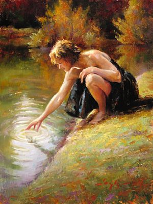 Woman at Stream (oil painting by Katherine Taylor)