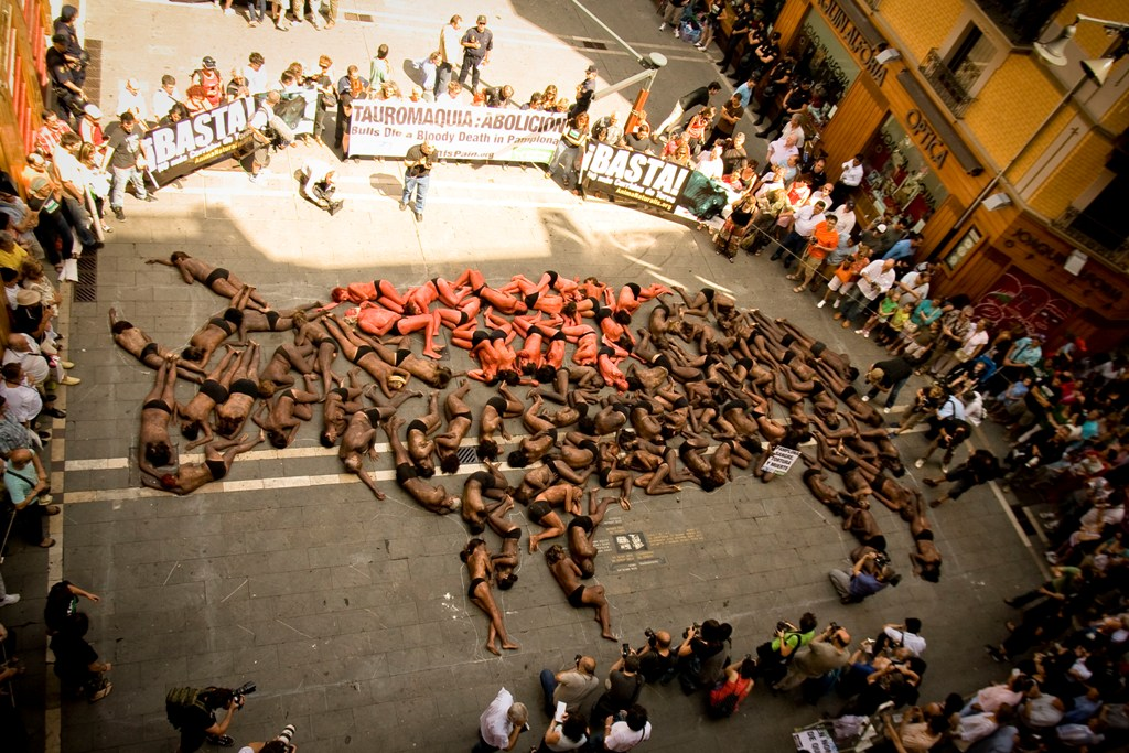 2010 anti-bullfighting demonstration in Pamplona (photograph by Matt Goldsmith)
