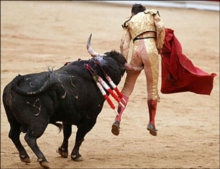 Bull fighting in Spain (image from www.notsoboringlife.com)