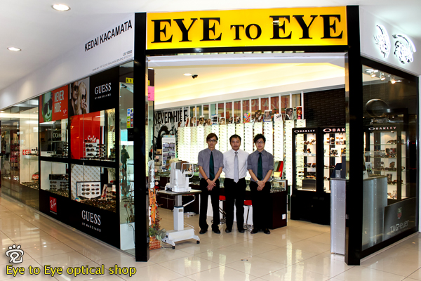 Eye to Eye optical shop in Dataran Pahlawan. From left: Danny, Henry, and Jaron