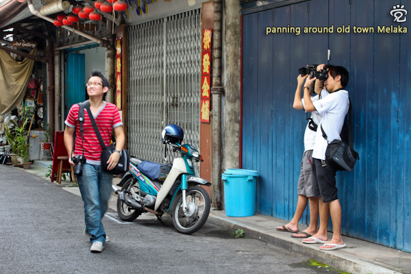 street photography outing in old town of Melaka with, from left: Iu-Lung, Timothy (blocked), and Denny