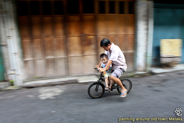 panning shot of the family love on a bike