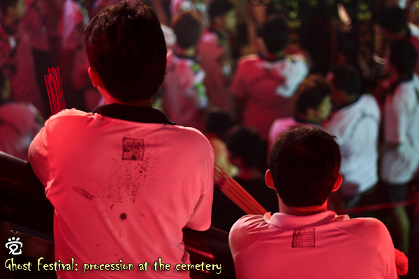 from left: Kok-Liang and Wee-Peng with their shirt stamped with the names of Da Er Ye Bo (大二爷伯), blessed and waiting for the procession to begin
