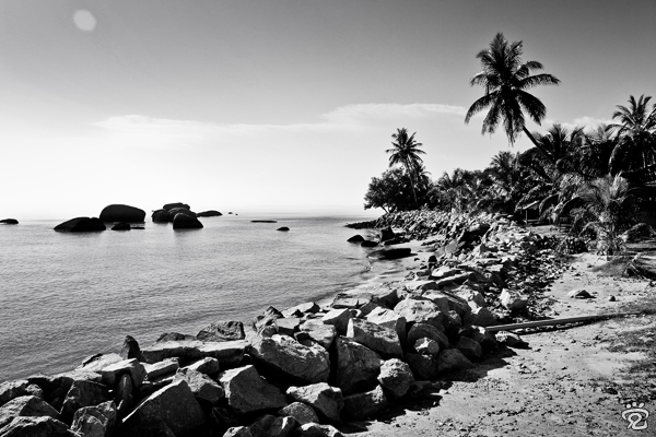 the beautiful coastline of Pengkalan Balak's beach