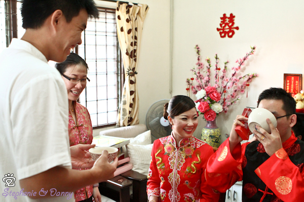 Stephenie and Danny in the wedding's tea ceremony