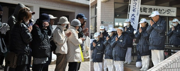 The residents and volunteers pray together. (Photo by Chen Wei-chun; date: 03/16/2011; location: Oarai, Ibaraki prefecture, Japan)