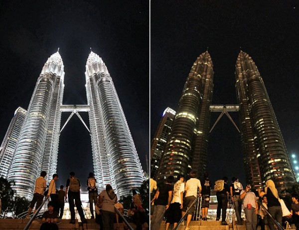 Two photos show Malaysia's landmark Petronas Twin Towers before, left, and after being turned off its lights to mark Earth Hour in Kuala Lumpur, Malaysia. (image from www.syracuse.com)