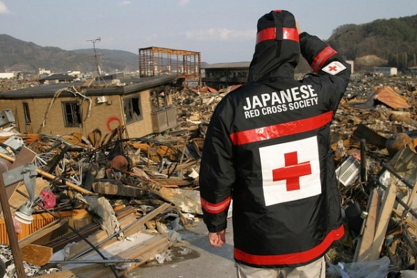 One week after the earthquake struck and tsunami surged through, a Japanese Red Cross volunteer surveys the damage to Otsuchi in Iwate prefecture. (Photograph: Japanese Red Cross Society)