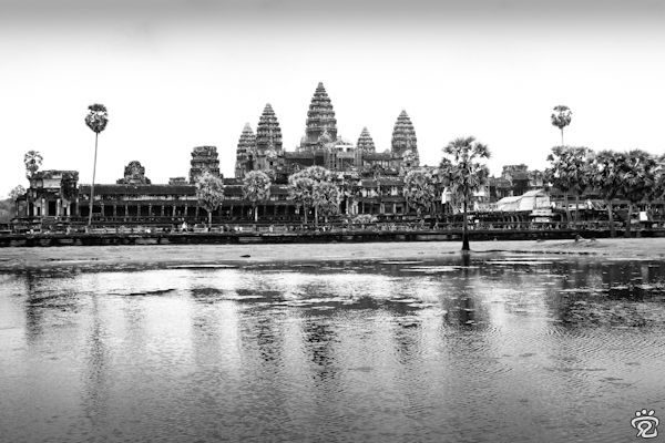 black and white Angkor Wat