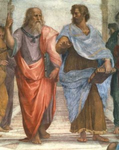 "detail of Plato and Aristotle (""School of Athens"" by Raphael)"