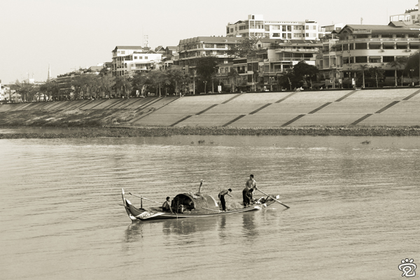 central riverfront area of Phnom Penh, view from the Mekong River's cruise