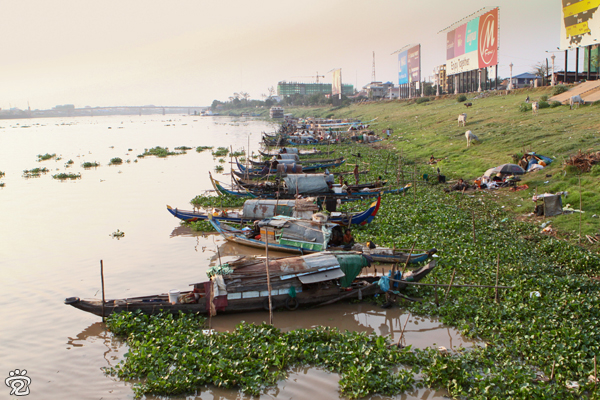 tribe on Mekong River, boats are their homes