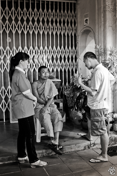 talking to the monk