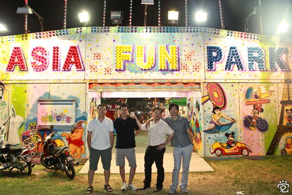 at the entrance of Asia Fun Park funfair, from left: Wee-Peng, Stephen Tang, Henry Lee and Koh-Yiaw