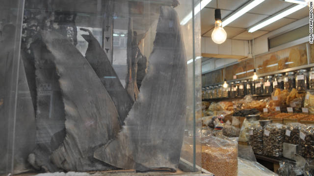 Shark fins are displayed at a dried sea food store on Hong Kong's Dried Seafood Street. (image by Saga McFarland/CNN)