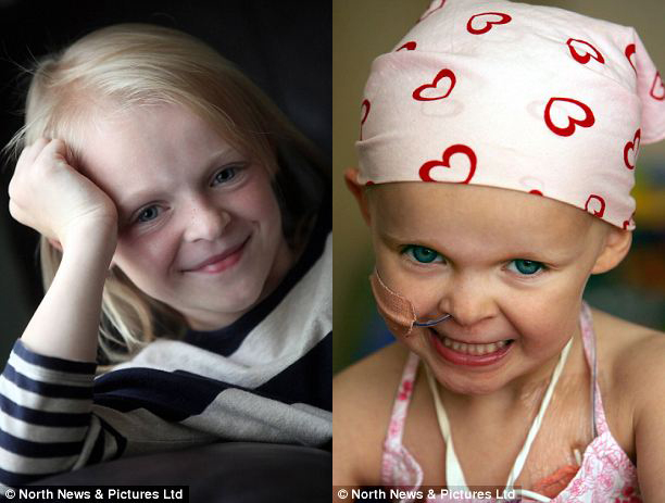 Recovered: Emily Clark, 9, (left and aged four, right) has been cancer-free for five years. She was on kidney dialysis for 18 months before her organ seemed to heal itself