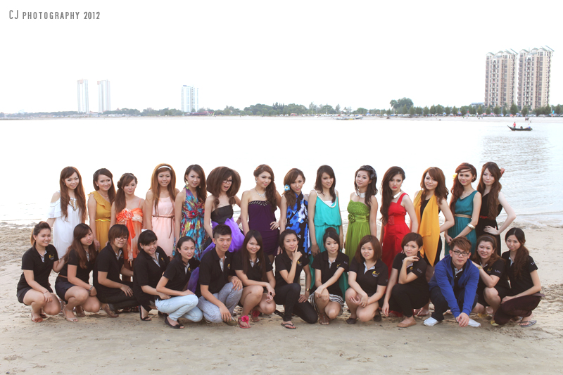 Make-up artists and models of M Nicole outdoor shooting at Klebang Beach