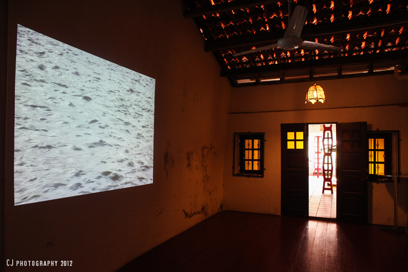 Melaka River – video projection by Noelene Lucas at Riverine Restaurant