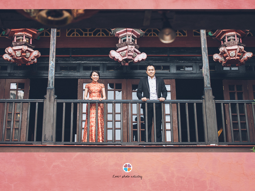 Lovely couple portrait at a tea house in Melaka town