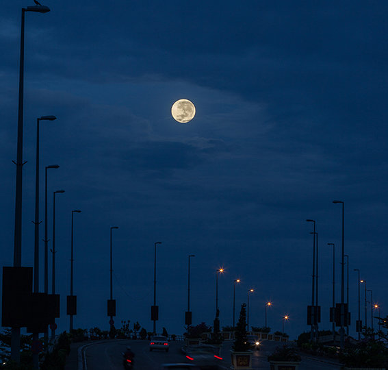 Supermoon before dawn over the Flyover Bandar Hilir of Jalan Syed Abdul Aziz Melaka