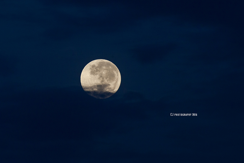 Closer look of the supermoon, which appeared for 5 minutes as the weather was cloudy and rainy whole day in Melaka